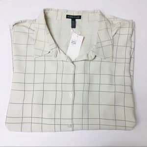 Eileen Fisher Windowpane Collar Button Up Shirt
